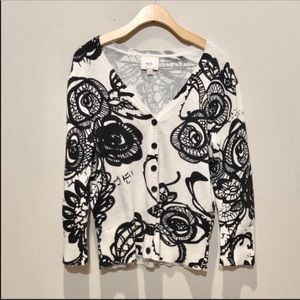 ECI Black and White Floral Cardigan